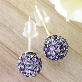 Pair 925 Sterling Silver Czech Crystal Disco Ball Ear Studs Xmas Gift