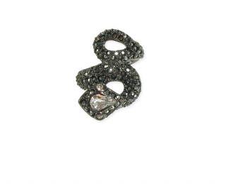 Kenneth Jay Lane Hematite Crystal Snake Ring New