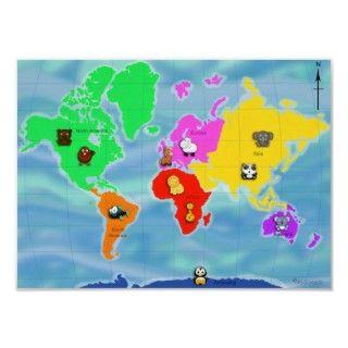 Un mapa colorido del poser del mundo para los niños. Dividido en