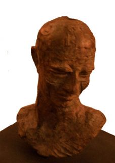 Javier Marin Bronze Figure Mans Head Signed Metal Base