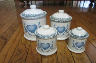 Corning Blue Sponge Hearts 8 pc CANISTERS LIDS SET MINT Jay Imports
