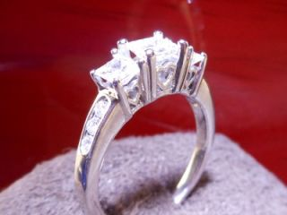 JARED CERTIFIED Colorless Princess Cut 3 Stone Diamond 14K White Gold