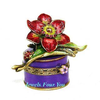 Jay Strongwater Amazing Flower with Ladybug Trinket Box Swarovski New