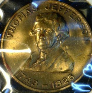 Thomas Jefferson Monticello Version 2 Commemorative Bronze Medal Token