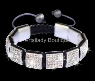 12 mm Square Shamballa Bracelet Jay Z Hip Hop White Iced 36 Iced Out