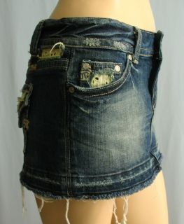 Miss Me Micro Mini Denim Jean Skirt Embroidered Lace Trim Rhinestones