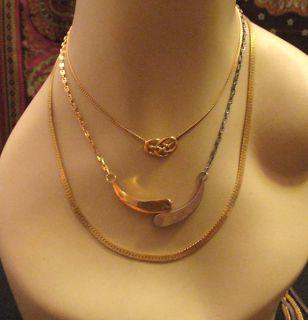 Vtg GOLDTONE & SILVERTONE Avon Knot MONET HERRINGBONE Chain Necklace