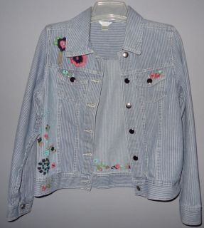 Womens Christopher Banks Jean Jacket Embroidered Flowers Small Blue