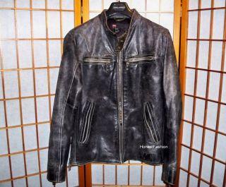 BLACK BIKER MOTORCYCLE DISTRESSED LEATHER JACKET COAT jean M Medium