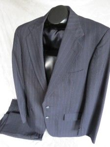 295 Jeffrey Banks Navy Pinstripe Wool 2 Button Suit Mens Size 40R