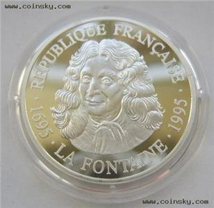 France 100 Francs 1995 Silver Proof Jean de La Fontaine