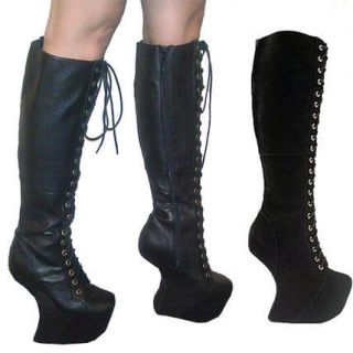 Jeffrey Campbell Walk Tall Long Boots Black Leather size 6 New with