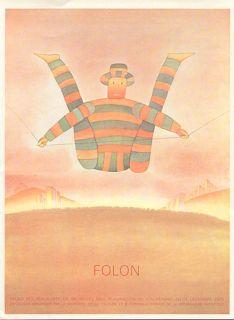 Jean Michel Folon Poster Print Circus Clown Tight Rope Palais Des