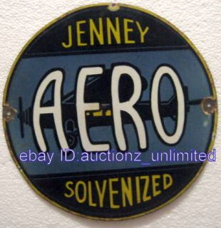 Vintage Vitreous Porcelain Enamel Sign Aero Jenney Solvenized