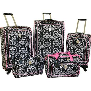 Jenni Chan Damask 5 Piece Spinner Luggage Set Black