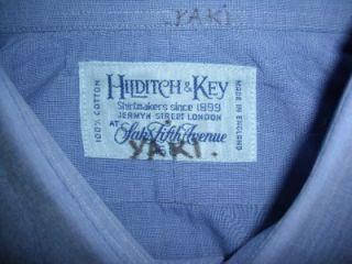 Hildich Key Jermyn S London Sz 15 L Blue Coon French Cuffed Dress