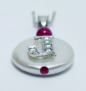 Designer Diamond Initial J Button Pearl Ruby 14k White Gold Pendant