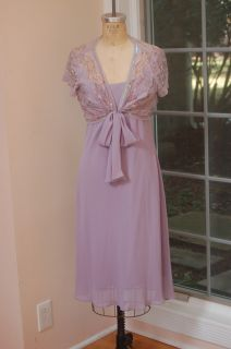 Sandra Darren Lilac Evening Cocktail Dress with Shrug Set Size 12