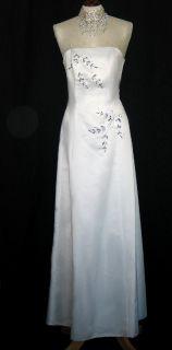 Jessica McClintock White Satin Rhinestone Gown Dress Size 12