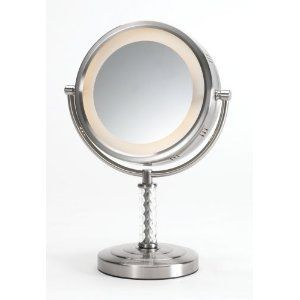 Jerdon HL856NC 8 inch Table Top Mirror 6X Magnification Nickel Finish