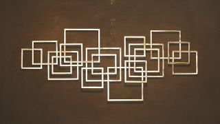 Abstract Metal Sculpture Wall Art Metal Squares Tubing Silver jere