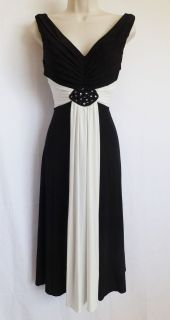 Jessica Howard Black White Colorblock Beaded Jersey Cocktail Dress 22W