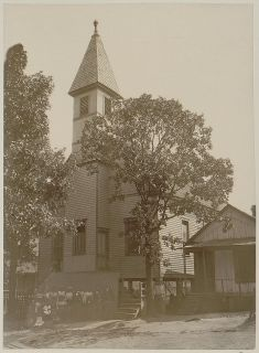 African American Blacks Outside Church in Georgia Around 1899 4 x 6