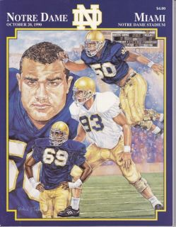 October 20th Notre Dame Football Program vs Miami Jerome Bettis