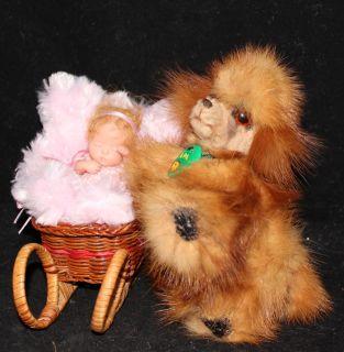 OOAK Recycled Mink Fur Mini Poodle Dog w Bed by Artist Natalya PhD