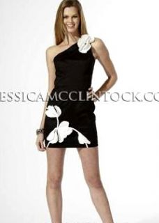 Jessica McClintock 54040 Black White Taffeta Dress 12