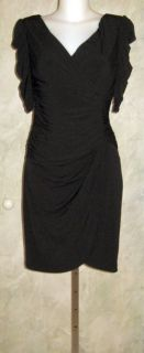 Jessica Simpson Ruched Black Matte Jersey Dress Sz 8 $128