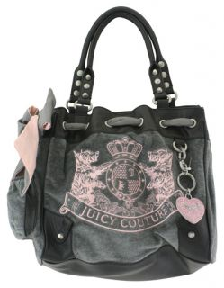 Juicy Couture Velour Scottie Dog Daydreamer Bag Gray Purse New