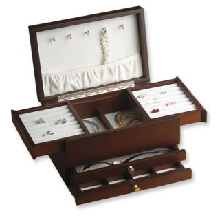 Wallace Jewelry Box w Expandable Compartments Dark Walnut