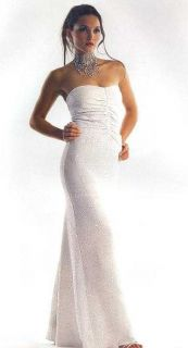 Jessica McClintock Sparkly Strapless White Dress Gown Size 8