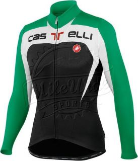 Castelli Contatto Long Sleeve Jersey Full Zip Bicycle Jacket Mens w