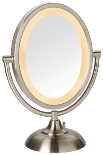 Jerdon 5X 1x Magnification Oval Halo Lighted Vanity Makeup Mirror