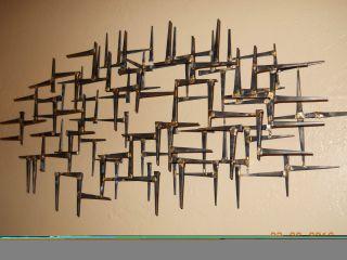 Abstract 3D Metal Nail Wall Sculpture Bronze Brass Eames Jere