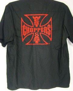 Mens Jesse James Work Wear Shirt West Coast Choppers M C Club Sz LRG