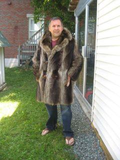 T21 Men Raccoon Fur Coat Brown Size Small
