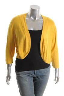 Jessica Howard NEW Woman Plus Size Yellow Cardigan Stretch Sweater