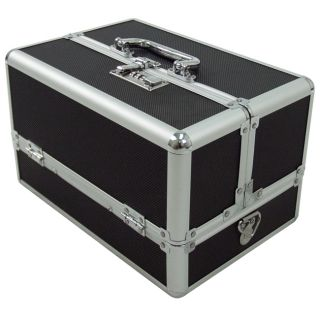 Makeup Cosmetic Train Storage Case Lock Jewelry Artist Box Black
