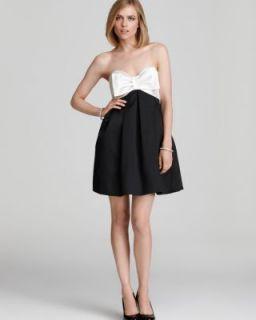 Jill Stuart New Black Heavy Twill Bow Strapless Semi Formal Dress 6