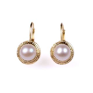 Natural 14k Yellow Gold 6mm Genuine Pink Pearl Earrings E768