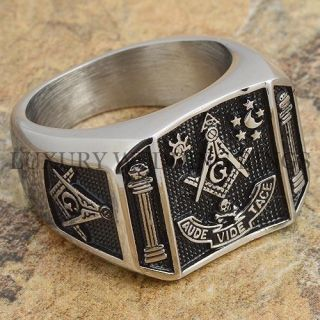 Mens Masonic Ring Square G & Pillars Master Mason Degree Rare Jewelry