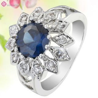 Wedding Jewelry Sunflower Cut Blue Sapphire Dainty Carnival Ring Size