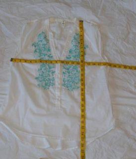 Anthropologie Floreat Cotton White Floral Tank Top 8 Medium M