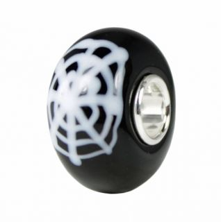 Halloween Spider Web Black Murano Glass Bead Charm 925 Sterling Silver