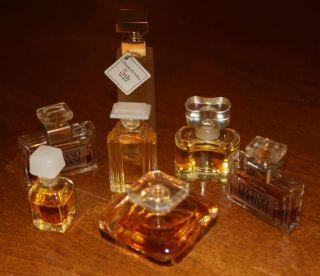 Mixed Lot of 7 Miniature Perfume Bottles Square Lot