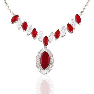 Ruby Gold GP Pendant Necklace Chain Wedding Women Dress Jewelry