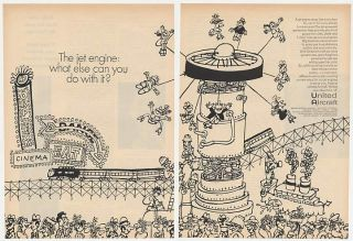 1969 United Aircraft Jet Engine Electric Power Train 2 Page Ad